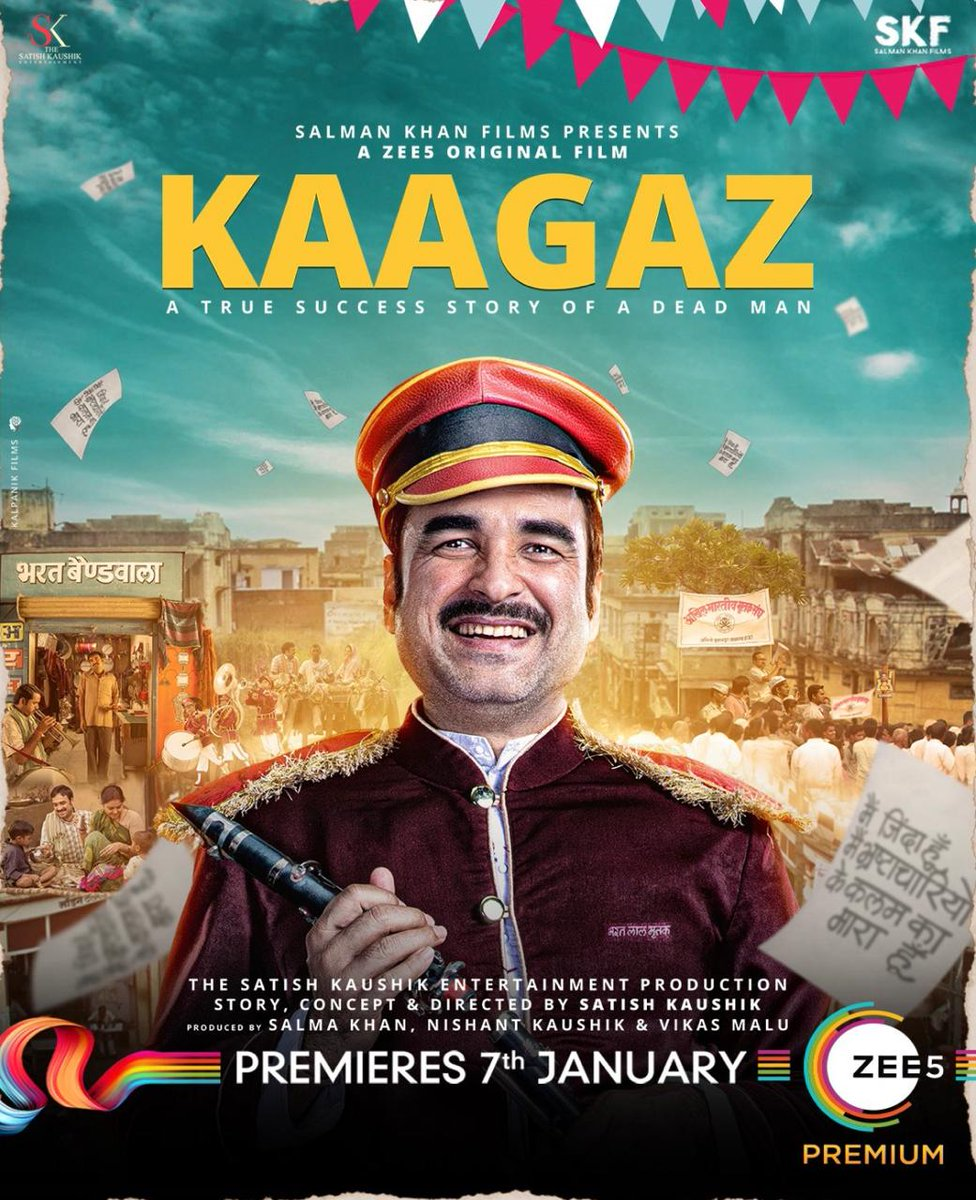 My friend, the multi talented @satishkaushik2 waited for 17 years to tell this compelling biopic... #Kaagaz drops tonight at 12am on @ZEE5Premium...please watch it!!