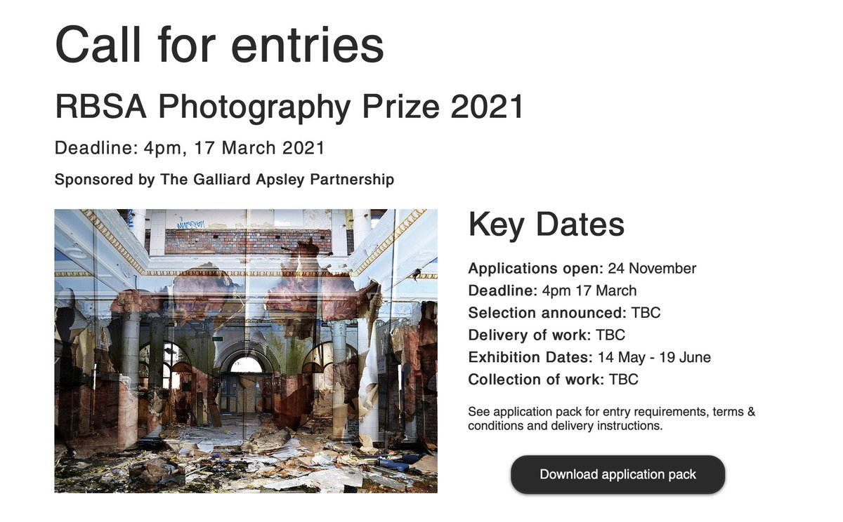 Photographers, good news! For obvious reasons, the deadline for the @rbsagallery Photography Prize has been extended. Download your application pack here: https://t.co/29WJAkOSVf  I'm on the judging panel and can't wait to see all of the excellent entries! https://t.co/rAFvYBKGbC