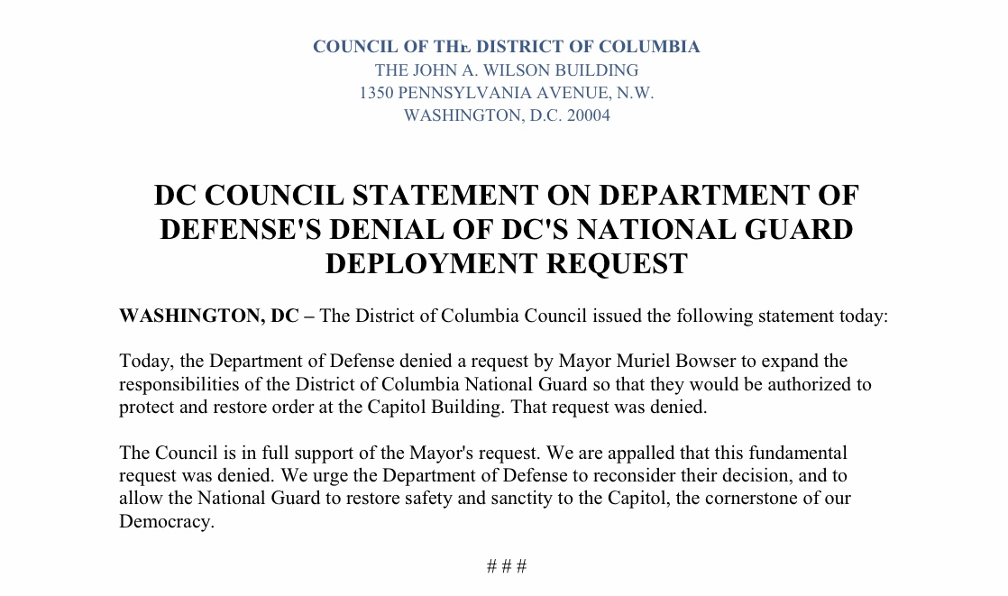Statement from the DC Council on the Department of Defense's Denial of DC's National Guard Deployment Request