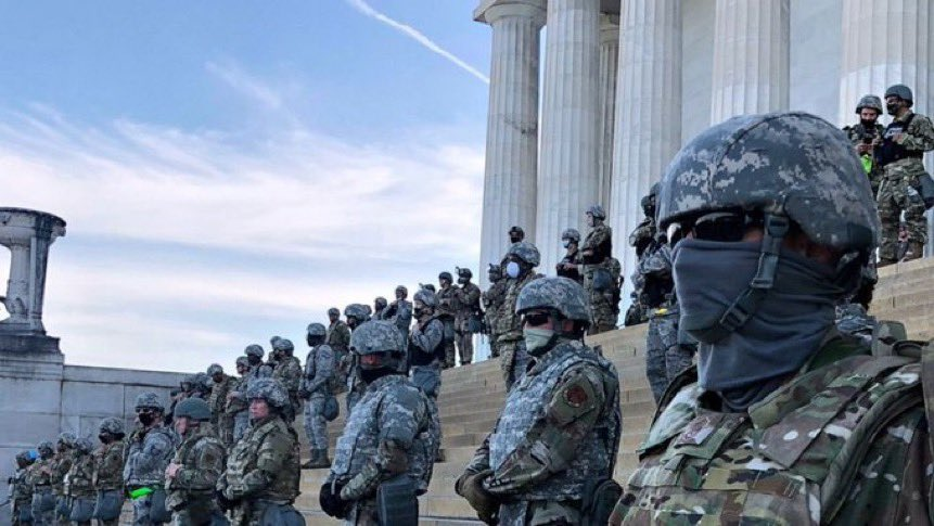 "The Pentagon denied repeated requests for the National Guard to be deployed today to protect the Capitol.  They were concerned about the ""optics"" of armed troops protecting Congress.  Here is what the Capitol looked like this summer in response to #BlackLivesMatter protests."
