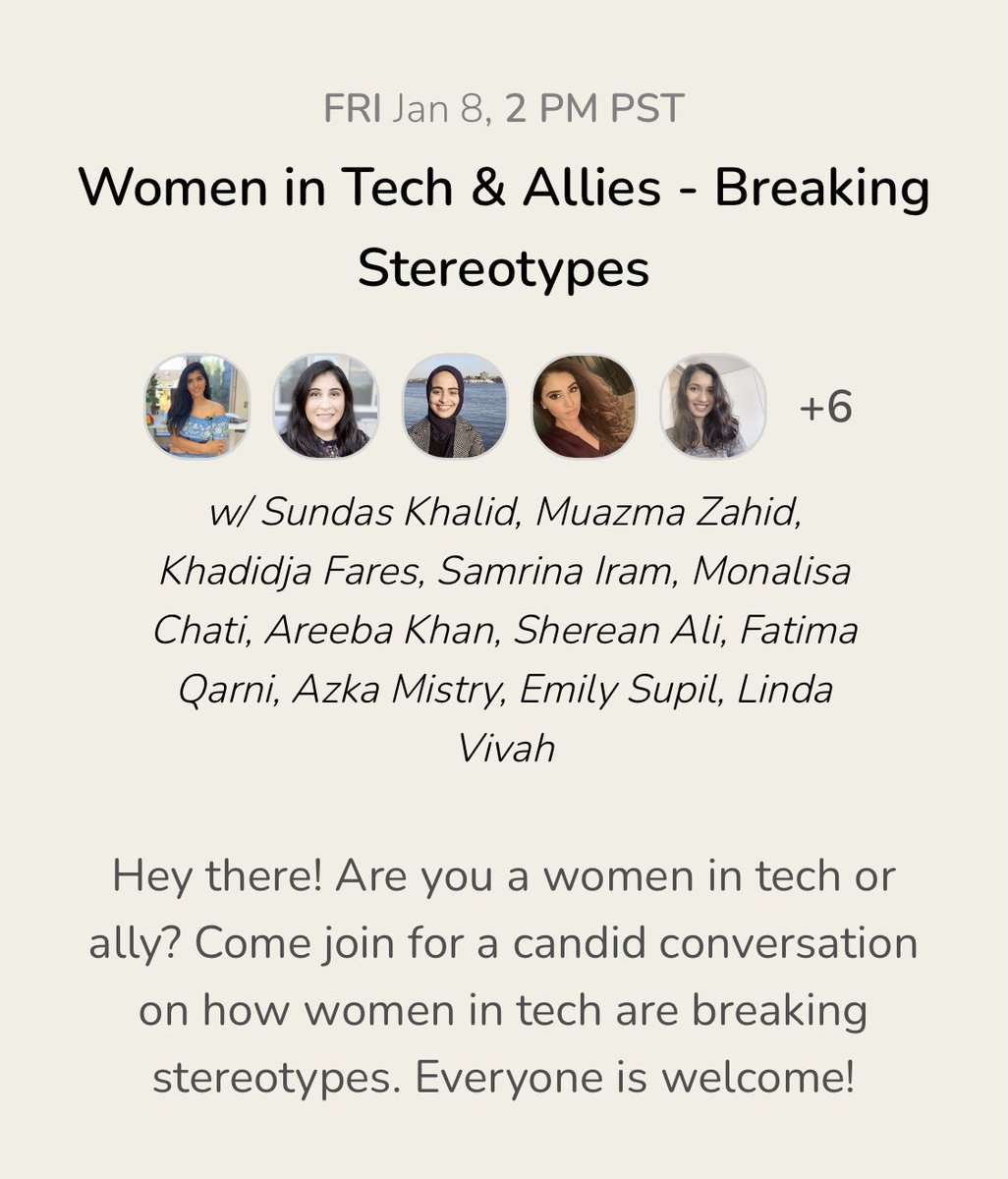 Hey there! Are you a women in tech or ally? Come join for a candid conversation on how women in tech are breaking stereotypes. Everyone is welcome!