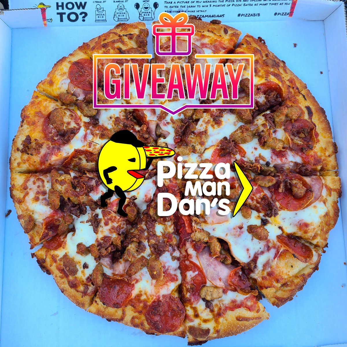 🔥 GIVEAWAY 🔥  🍕 📢 We're giving away THREE #PizzaManDans Gift Certificate Packages split among three lucky winners! Each Gift Certificate is good for a Lg 2-Item Pizza + 12 Wings + 1 Calzone + 1 Sub + 2 PizzaMan Dan's Stickers!💓  Follow @PizzaManDans on Instagram for details!
