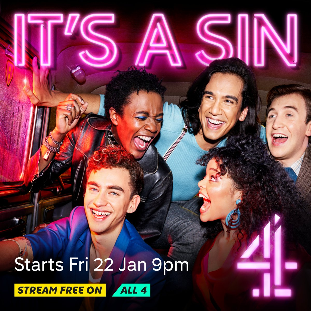 It's official! Channel 4's hotly anticipated new drama #ItsASin from the multi-BAFTA award-winning writer Russell T Davies will air on Friday 22nd Jan at 9pm.