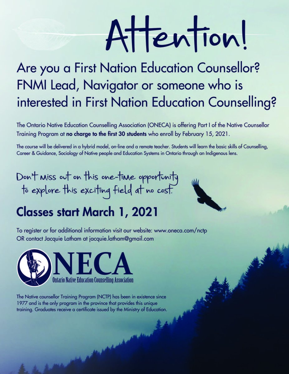 The first 30 eligible students to enroll in the Native Counselor Training Program will gain access to Part I of the course for FREE.  Register today!