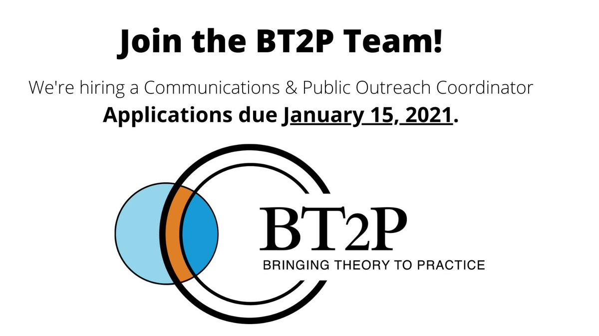 Join the @BTtoPractice team at @elonuniversity as our Communications & Public Outreach Coordinator. Deadline to apply is Friday, January 15th. Learn more and apply today: https://t.co/hHK0uQOMmL