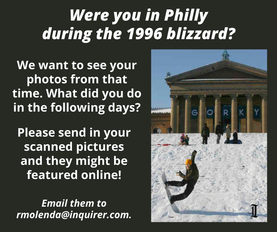 This week is the 25th anniversary of the biggest snow in Philly's history — more than 30 inches buried the city in 1996.   Were you in Philly then? We want to see your pictures! ❄️ Please email them to Digital Photo Editor Rachel Molenda at rmolenda@inquirer.com.