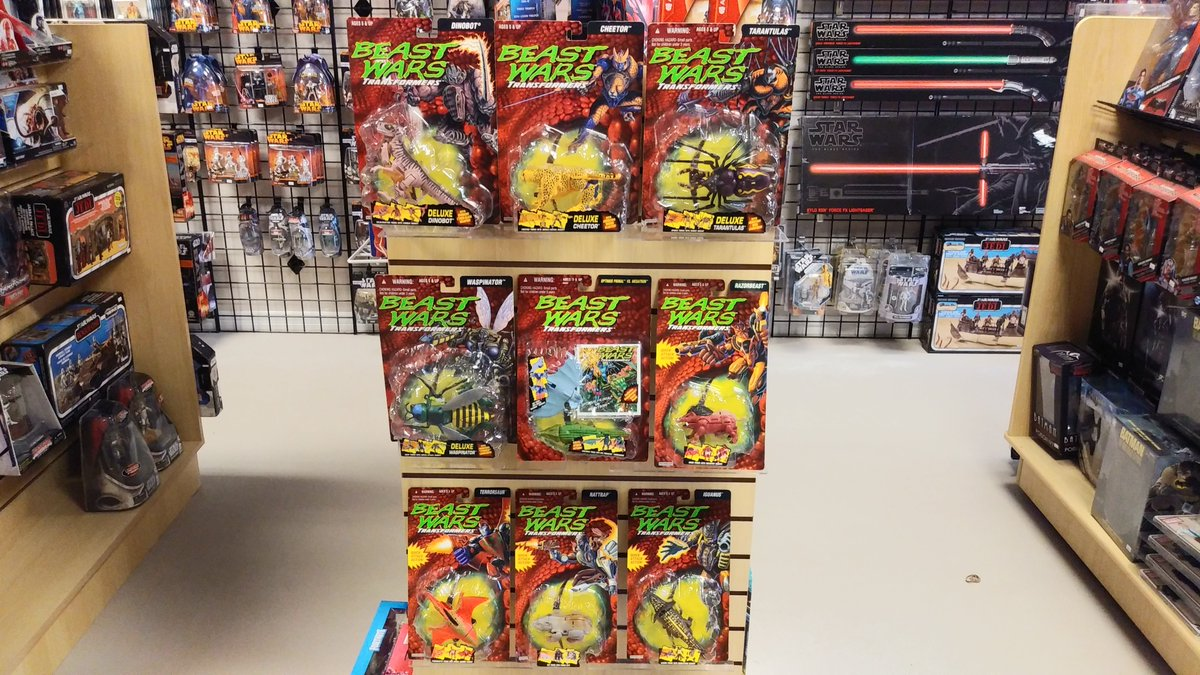 Here's a very rare sight! 25 years ago was the debut of #BeastWars #Transformers and the first run were in these rock-shaped bubbles. All nine of these rare treasures were on display during our preview days! #bonitatoys #toycollecting #toystore #SWFL #SWFlorida