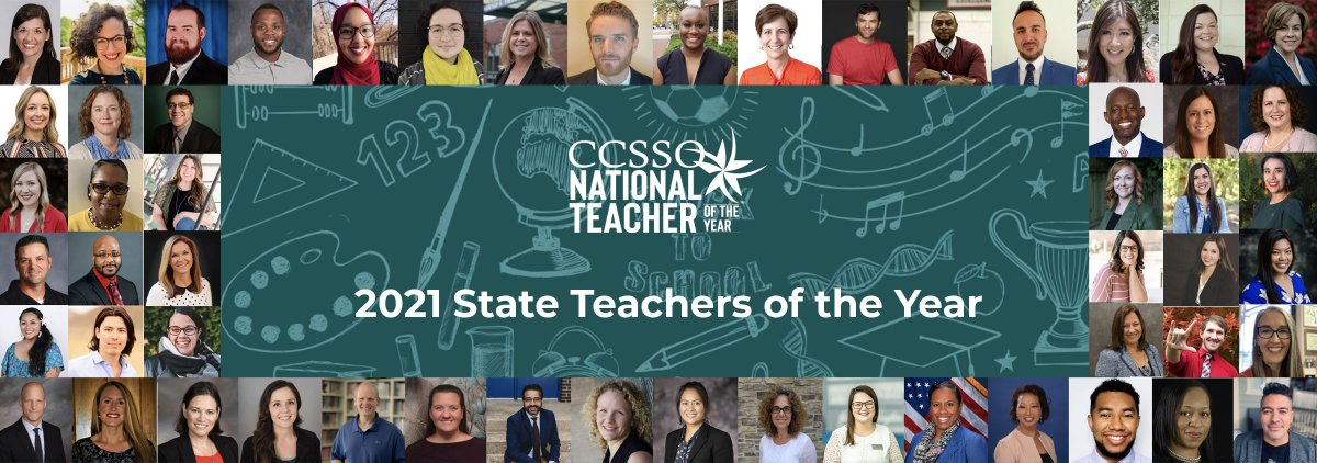 NEW: @CCSSO is proud to introduce the 2021 State Teachers of the Year!   Visit  to learn more about who will represent your state. #NTOY21