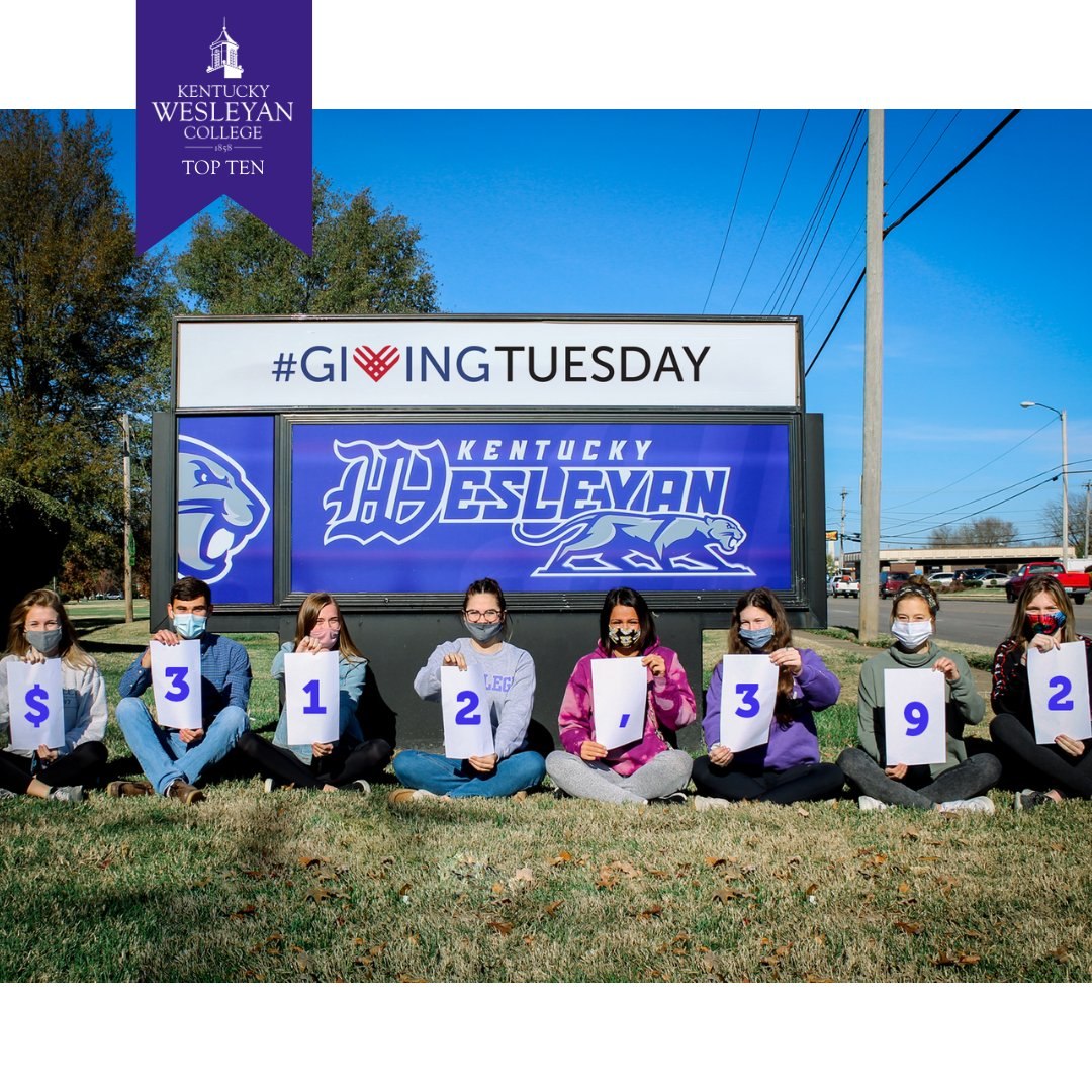 In December, nearly 300 investors helped us exceed our $183,600 goal, soar past $1 million and make #GivingTuesday2020 the most successful giving day in Kentucky Wesleyan College history.  We raised $312,392— which brought the 6 year running total to $1,128,792!