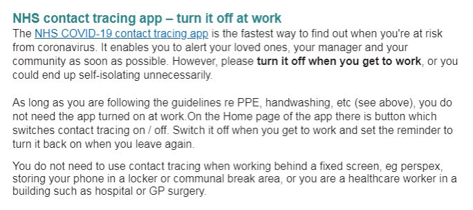 """LEAKED memo to NHS staff: Turn off the trace and trace app or """"you could end up self-isolating unnecessarily""""   NHS management want their staff to turn off track and trace - because they KNOW it will ruin staffing levels. This is the scale of the fraud exposed for all to see.... https://t.co/2A5JQBDghN"""