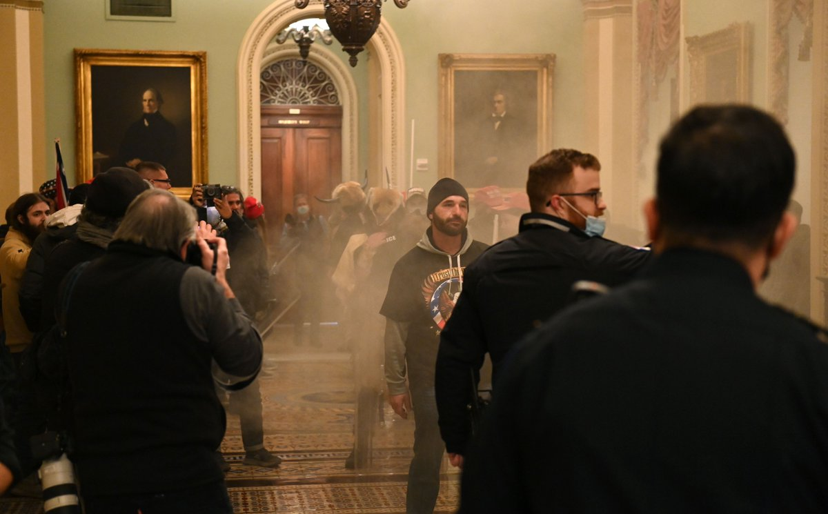 NOW: The scene inside the Capitol as mobs of Trump supporters breach building.  Story: https://t.co/zeM6H9PTaY https://t.co/M8OYpcL5p8