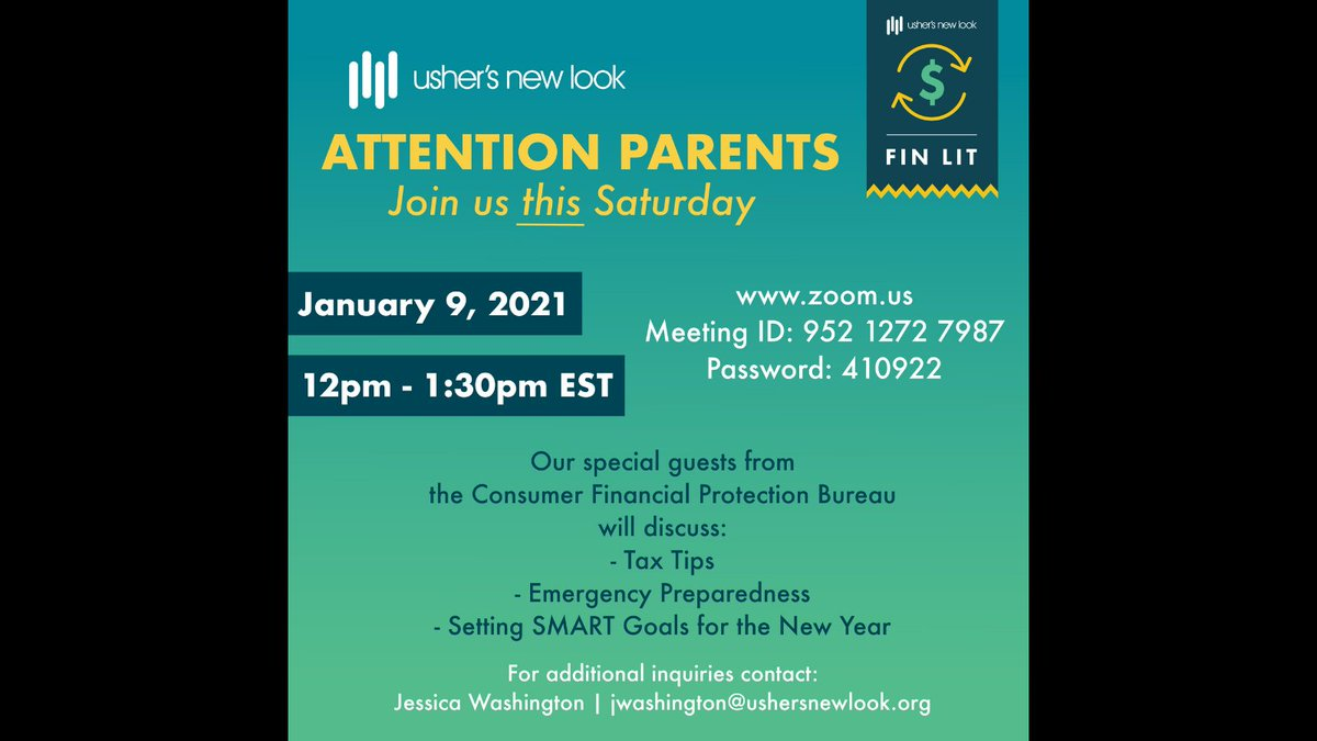 Attention parents, join us this Saturday, January 9th at 12pm EST, for a parent ONLY financial literacy session! Special guests from @CFPB will discuss tax tips, emergency preparedness and setting SMART goals for the new year. Register here: