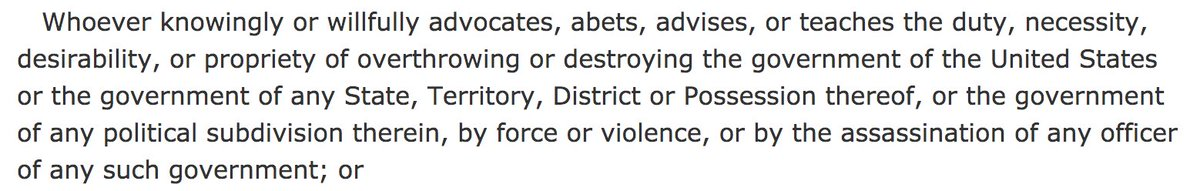 """It is a criminal offense to advocate """"overthrowing or destroying the government of the United States"""" [18 U.S. Code § 2385]  And the domestic terrorists trying to overthrow government are being led by the President of the United States   https://t.co/3QP2NT27PI https://t.co/0tFwy14F6v"""