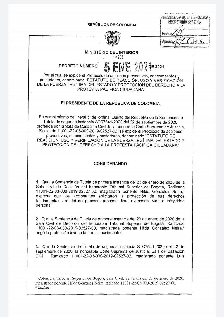 Ayer el gobierno expidió del decreto 003 de 221, a través del cual busca regular la fuerza del Estado en el marco del derecho ciudadano a la protesta.   Abrimos Hilo Mutante 👽🧶