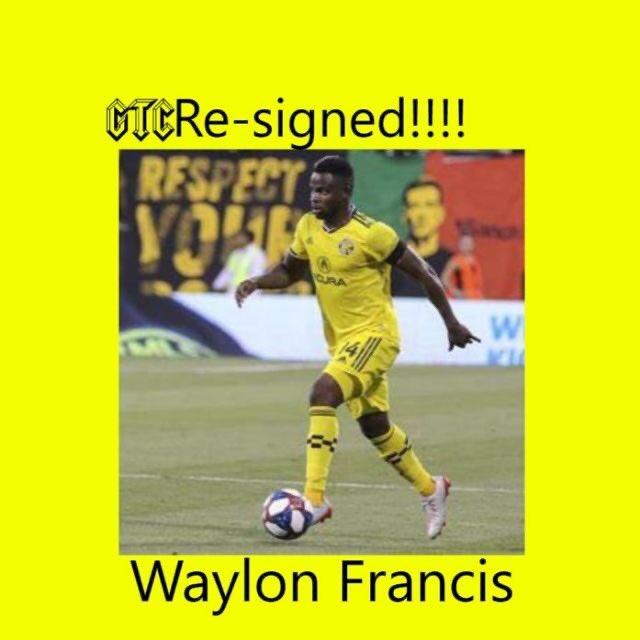 @WaylonFrancis90 has been resigned by @ColumbusCrewSC congrats Waylon on the contract extension excited for the 2021 season 🖤💛💪🏻 #ColumbusCrew #Crew96 #CrewNation #GlorytoColumbus #offseason #VamosColumbus