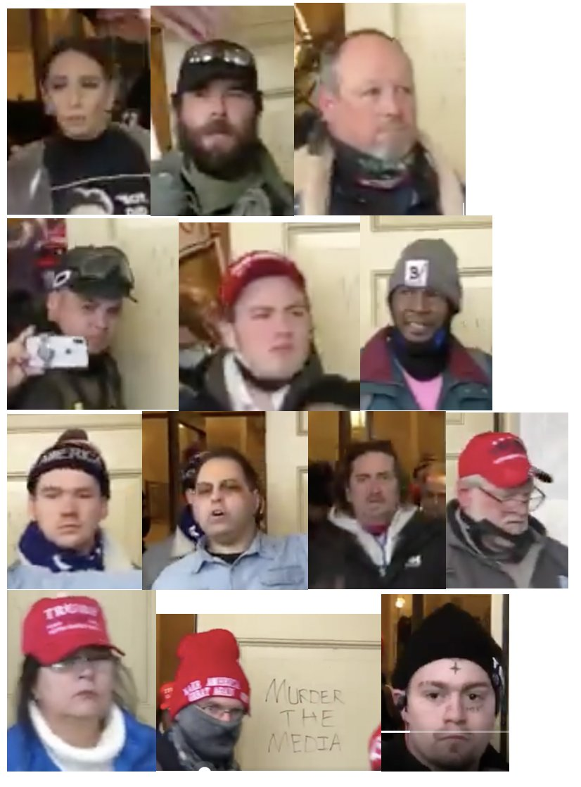 @AllMattNYT Here are the faces of 32 insurrectionists as they leave the Capitol building.  Retweet far and wide so these criminals are not allowed to get away with their treason.