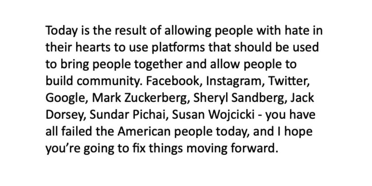 . @Facebook, @Instagram, @Twitter, @Google, Mark Zuckerberg, @SherylSandberg, @jack, @Sundarpichai, @SusanWojcicki