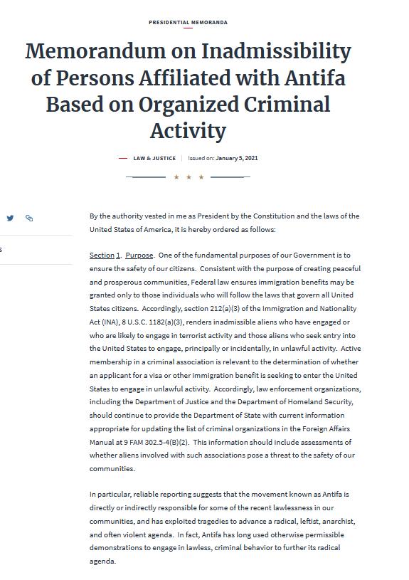 昨日1月5日にトランプ大統領が発行した覚書。  『組織的犯罪行為に基づくANTIFA関係者の不適格性に関する覚書』 whitehouse.gov/presidential-a…  Antifaが大勢紛れ込んで暴れることは想定済み。 あとは、純粋な愛国者の方々の身の安全を祈るのみです。