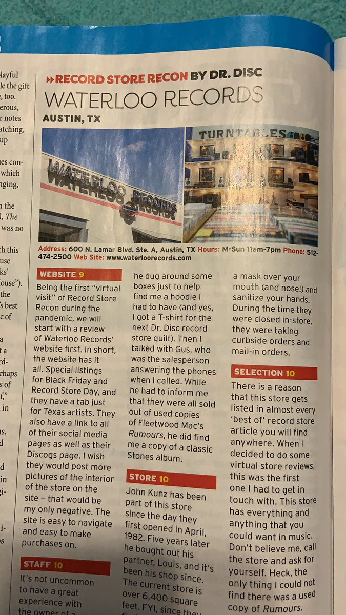 First official virtual record store review in the new @Goldmine_mag thanks to @WaterlooRecords for taking the time to talk. What an amazing store.