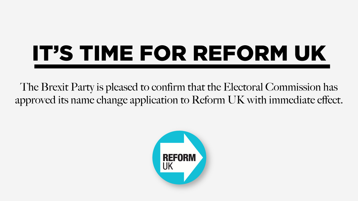 The Brexit Party is now Reform UK. You can find us here: @ReformParty_UK Find out more here: reformparty.uk