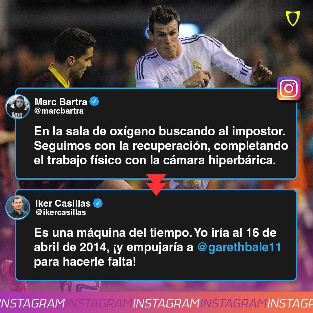 ¡SAN IKER HACE DE LAS SUYAS!  Bartra compartió en redes sociales como va con su recuperación y Casillas no dudó en recordar una vieja herida 😅📲📅🇪🇸  #MarcBartra #IkerCasillas #GarethBale #Barcelona #RealMadrid