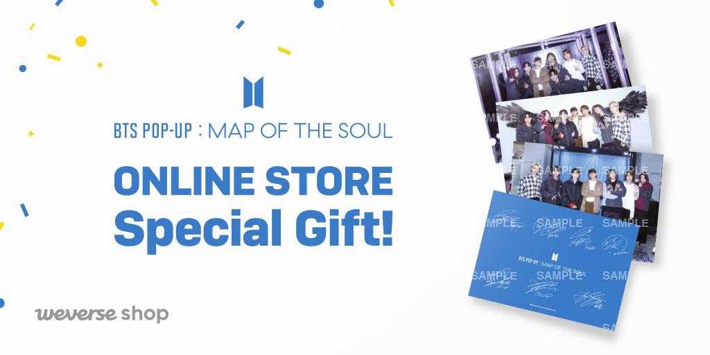 #BTS POP-UP : MAP OF THE SOUL Online Store를 사랑해 주신 분들을 위해 #위버스샵 이 감사 선물을 준비했어요.💜  🎁POP-UP 상품 구매 시, 아티스트 단체 사인 포토엽서 증정 📆기간 : 1/7(목) 11:00 ~ 1/24(일) 21:00 (KST)  GLOBAL 👉 USA 👉