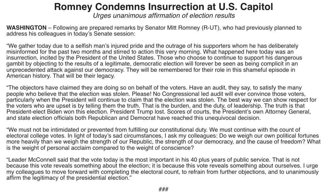 """MITT ROMNEY: """"What happened here today was an insurrection, incited by the President of the United States."""""""
