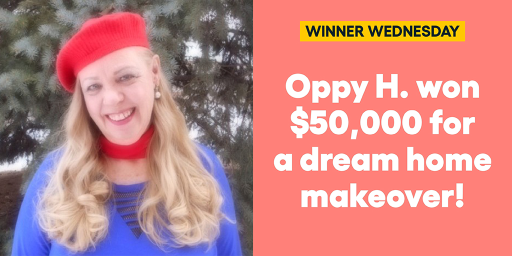 Oppy H. won $50,000 for a dream home makeover! #omaze #omazewinners #winnerwednesday