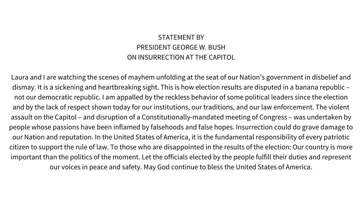Statement by President George W. Bush on Insurrection at the Capitol