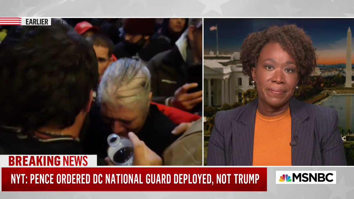 """White Americans aren't afraid of the cops. White Americans are never afraid of the cops, even when they're committing an insurrection,"" @JoyAnnReid says about the Trump supporters rioting the US Capitol."