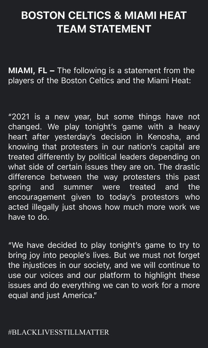 Replying to @TimBontemps: The Celtics and Heat just issued this joint statement: