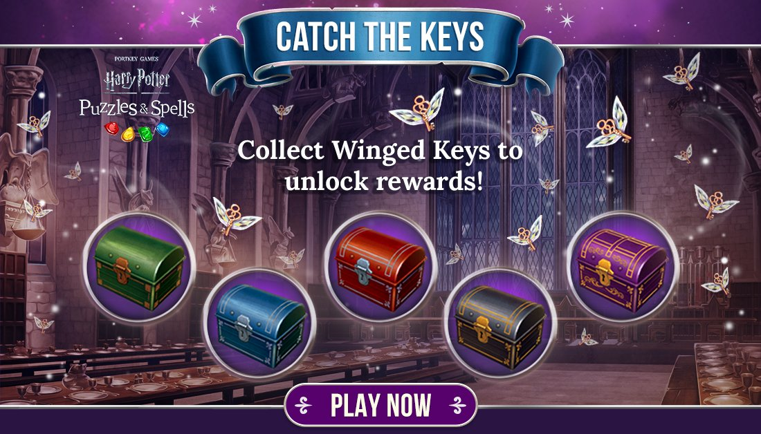#CatchTheKeys to open as many chests as you can while the event is active!  Collect Winged Keys NOW ➡️   #HarryPotterPuzzlesAndSpells #Match3  #WingedKey #HarryPotter