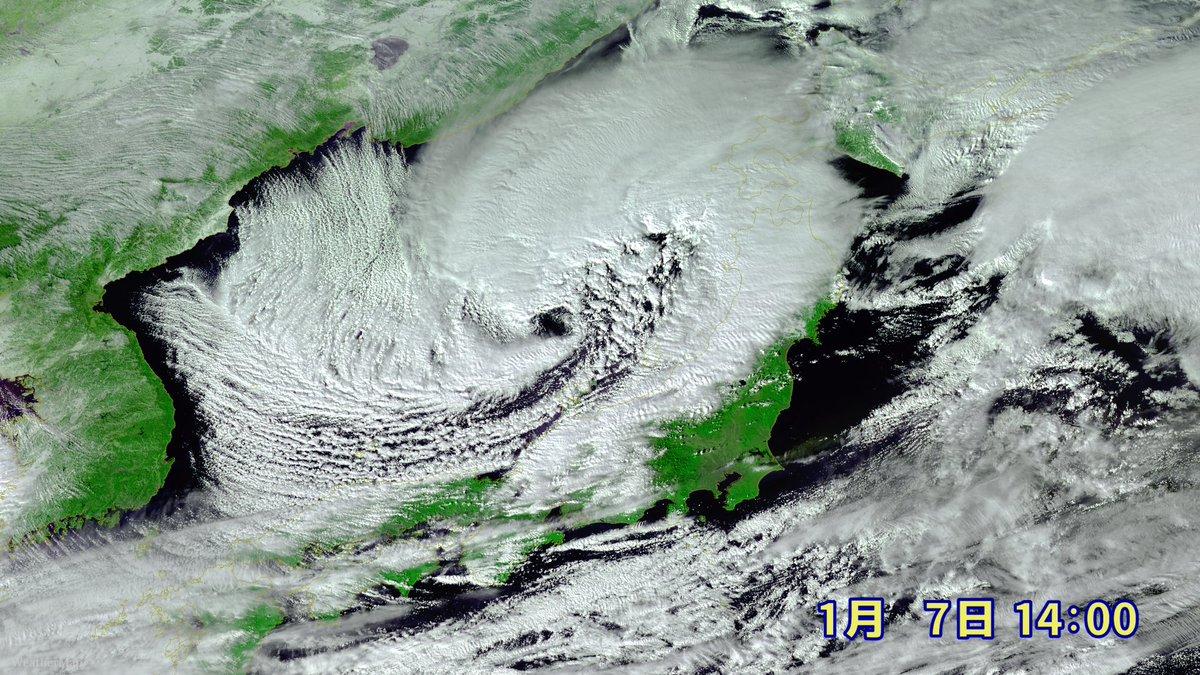 【まさか】#低気圧の眼 が出現 日本海の低気圧の発達があまりにも急すぎて、台風ではないのに、台風の眼のように、低気圧の眼ができている…  理論上は台風以外でも眼ができますが、実際にみられることはほぼなく、超激レアな現象です。  大荒れの天気に警戒してください。