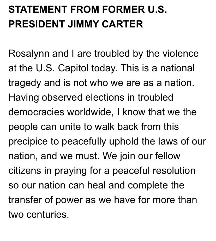 Statement from Jimmy Carter is below.
