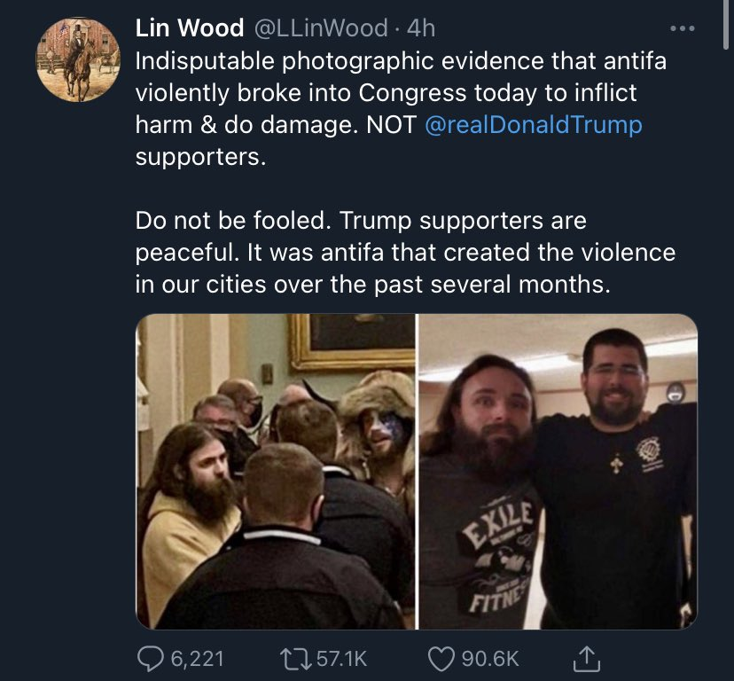 """stephen fowler on Twitter: """"Deranged attorney Lin Wood is falsely claiming  antifa stormed the Capitol today. The last post from an account purportedly  belonging to the woman killed in a shooting there"""