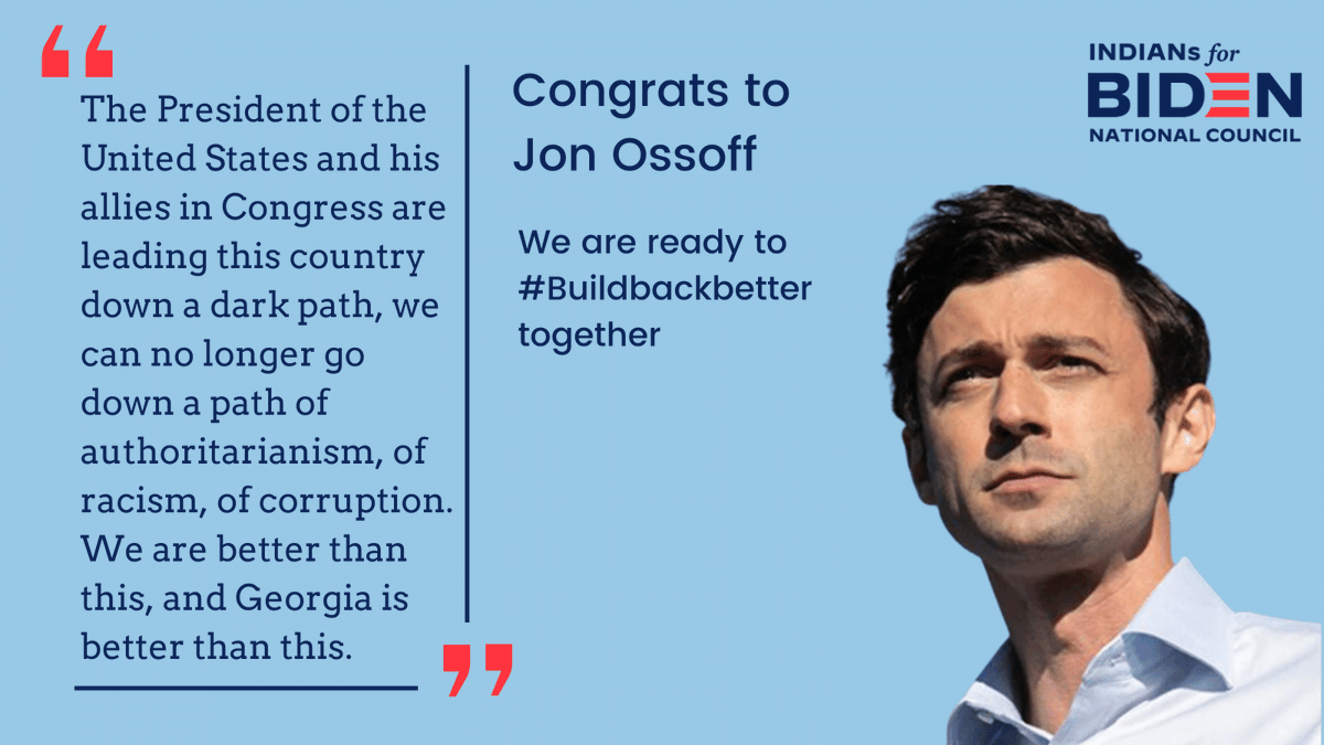 Congrats to Senator-elect @ossoff. While violence at the Capitol has overshadowed his win, we congratulate and thank everyone who organized, mobilized and voted for our community to come out and be the margin of victory.  We fought for our democracy, and democracy won. https://t.co/1dlec8vSjh