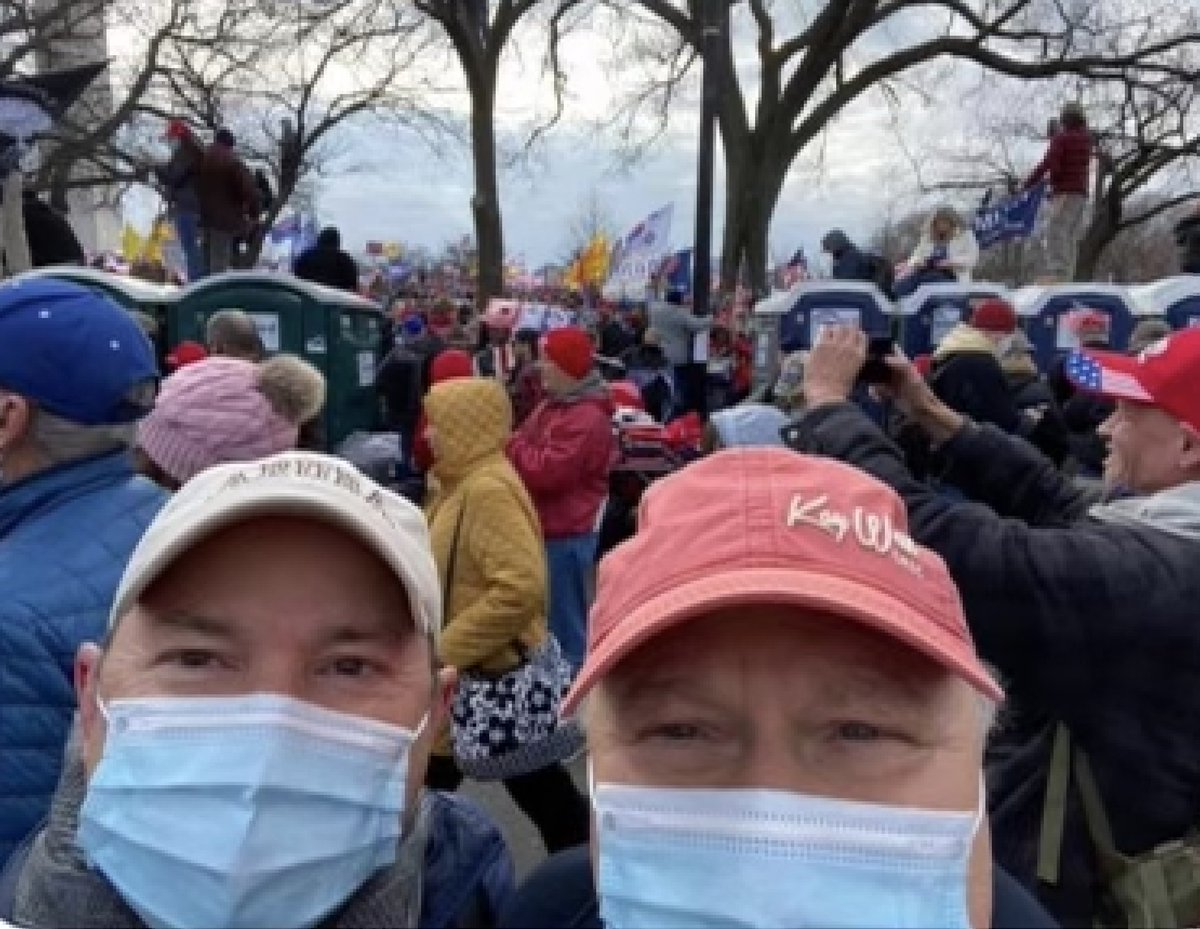 """Donald Rouse, Sr. (right), the co-owner of the Louisiana-based grocery chainstore Rouses Markets, and former Rouses HR Director Steve Galtier traveled to DC to protest election, according to a public post on Galtier's FB.   He claims they were alongside """"millions"""" of """"patriots."""""""
