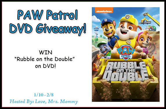 #GIVEAWAY! Enter to #WIN a #PAWPatrol #DVD from @Love_MrsMommy! All new Rubble on the Double DVD release!! Fun #Kid #Show! #Contest #Present #Prize #KidShow #Nickelodeon #ForTheKids https://t.co/uNJqAhNo9s https://t.co/Eak7nwGvH8