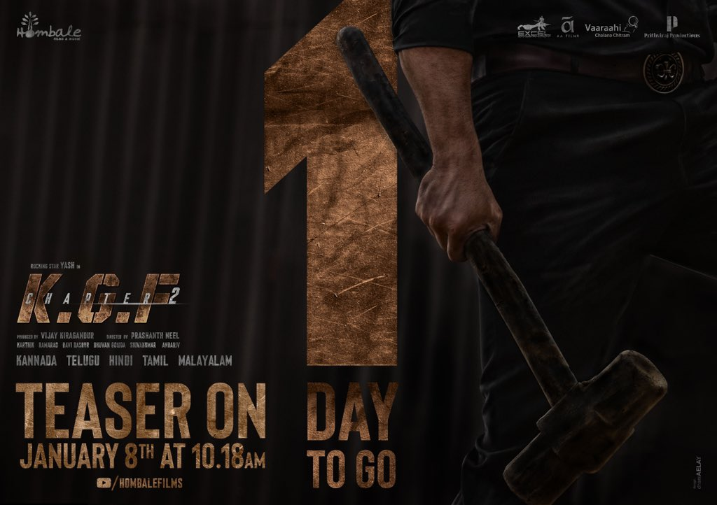 The wait is almost over. Make way for Rocky! #KGFChapter2Teaser out on 8th Jan.  ♥️ or RT this to set a personal reminder for the teaser premiere!  @VKiragandur @prashanth_neel @TheNameIsYash @duttsanjay @SrinidhiShetty7 @TandonRaveena @BasrurRavi @bhuvangowda84 @hombalefilms