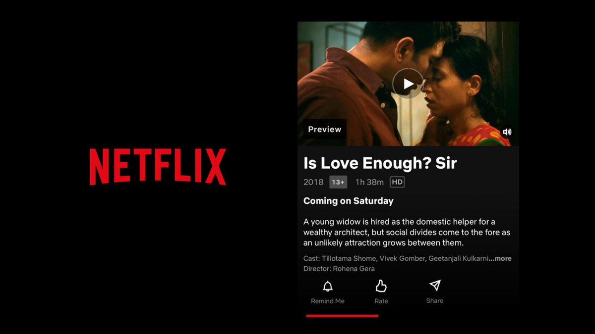 #SIRTheFilm is finally coming to your home , this Saturday on NETFLIX. Wishing you all a groovy Saturday night💃 But most of all cheers to LOVE and our Director @RohenaGera #SIRonNetflix   #VivekGomber @getkul @BricePoisson @LenouvelThierry @ShiladityaBora