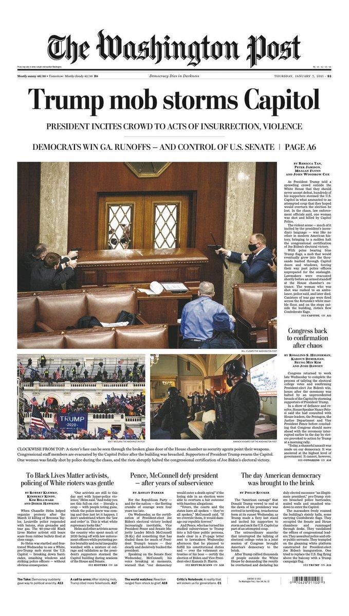 Replying to @s_desrosiers: La Une du @washingtonpost et du @nytimes.