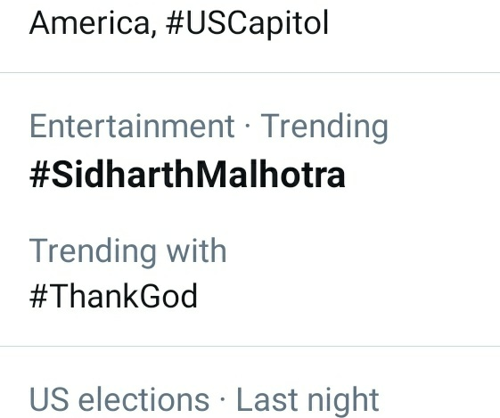 #SidharthMalhotra Is Trending along with #ThankGod   Best wishes to you @SidMalhotra & whole team