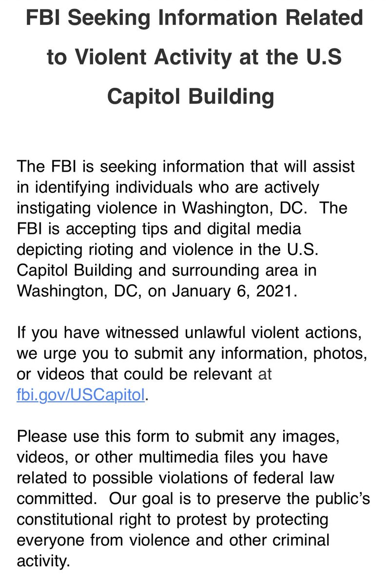 "NEW: ""The FBI is seeking information that will assist in identifying individuals who are actively instigating violence in Washington, DC.""  https://t.co/8OtaW8REyt https://t.co/euZxifz9Xh"