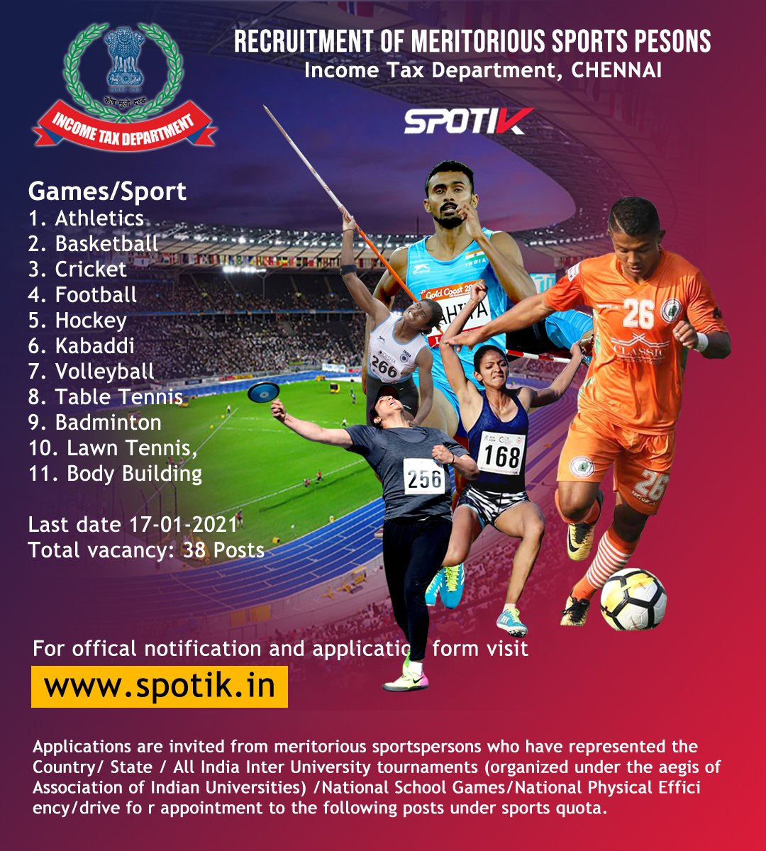 Sports Quota Recruitment - Income Tax Department India   . #sportsquota #indiansports #kheloindia #sportsnews #ThursdayThoughts #ThursdayMotivation #thursdaymorning #RemoveUsFromScheduleCaste #chennai #IncomeTax #IncomeTaxFilingDate