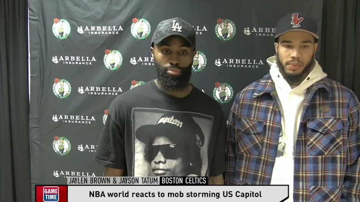 """""""In one America, you get killed by sleeping in your car, selling cigarettes or playing in your backyard. In another America, you get to storm the Capitol, and no tear gas, no massive arrests, none of that.""""  Jaylen Brown responds to today's breach of the Capitol."""