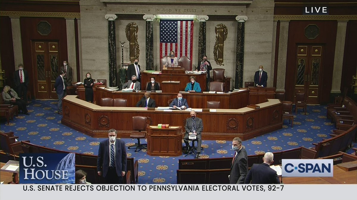 """""""There will be order in the House.""""  Watch tensions rise on House floor during debate on Pennsylvania #ElectoralCollege Vote Objection.  Note: C-SPAN does not control cameras in the House."""