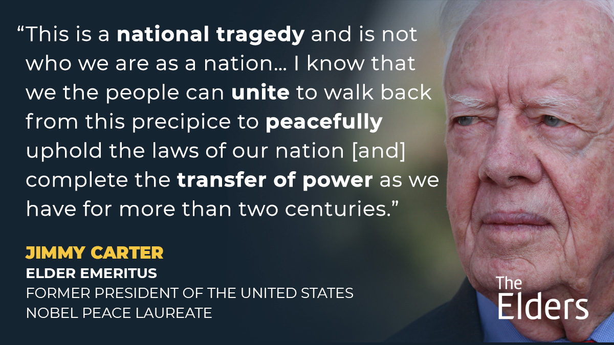 Elder Emeritus, President Jimmy Carter, on the violence at the US Capitol.