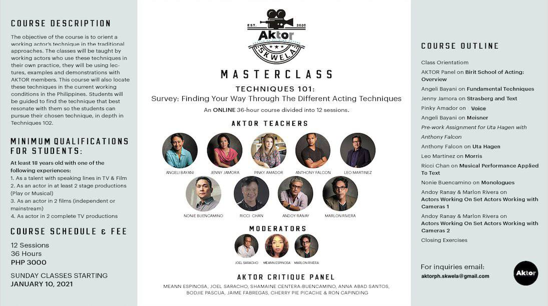 Hi guysss!!! Did anyone here in the Twittersphere ever want to learn acting techniques? We at @AktorPh are holding a MASTERCLASS over the next few months for anyone interested! Let's be classmates 🎭📒 checkout my twitter stories ☺