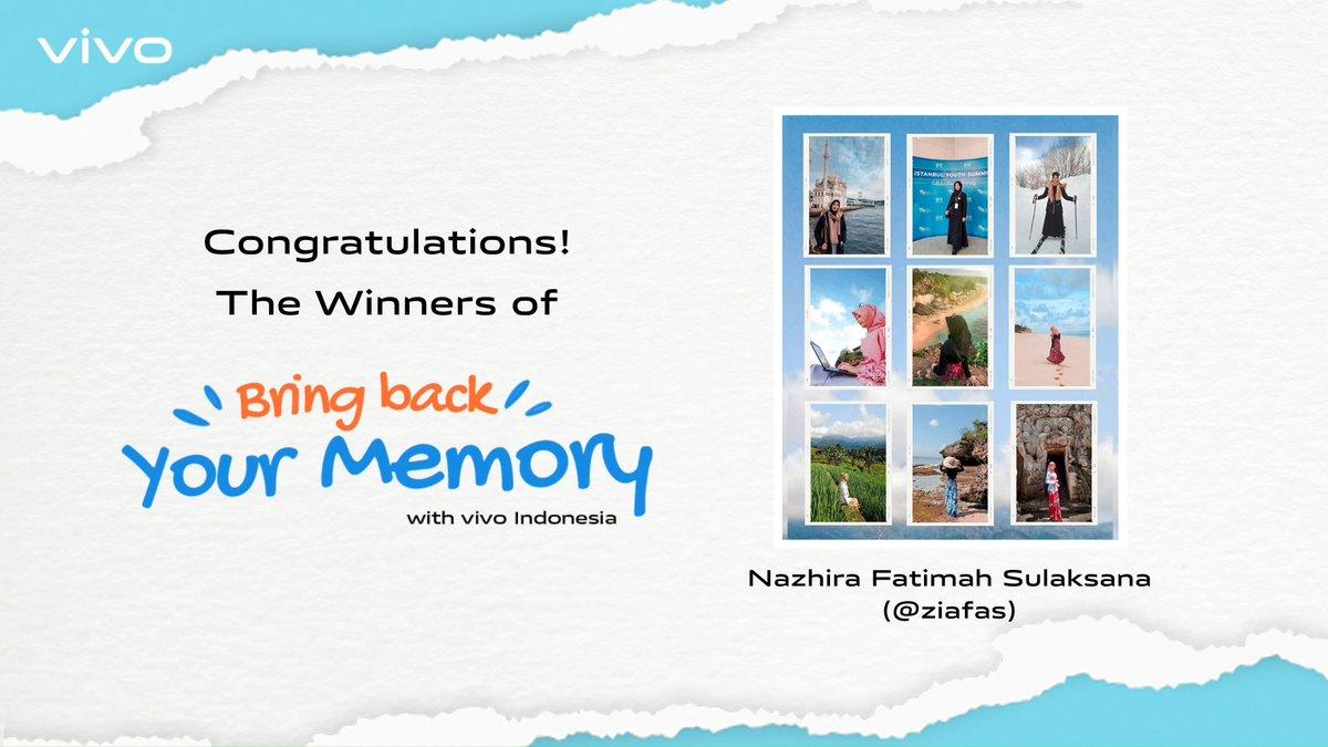 Selamat bagi 3 partisipan #vivoBringBackYourMemory yang berhasil memenangkan vivo V20 SE!  Terima kasih untuk seluruh peserta yang sudah berpartisipasi dan membagikan kenangan indah kalian selama 2020. Tunggu kejutan seru lainnya dari vivo Indonesia, ya!