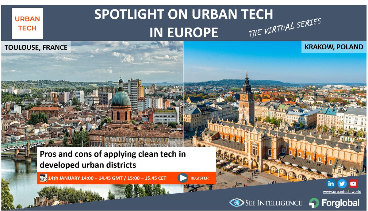 Applying #cleantech solutions in developed #urban districts. Thursday January 14th our expert panel from cities of #Krakow and #Toulouse will share their insights and answer your questions in our live Zoom webinar. Sign up for free: https://t.co/mDeo74KrKs and join us 15.00 CET. https://t.co/IZvbB60rBw